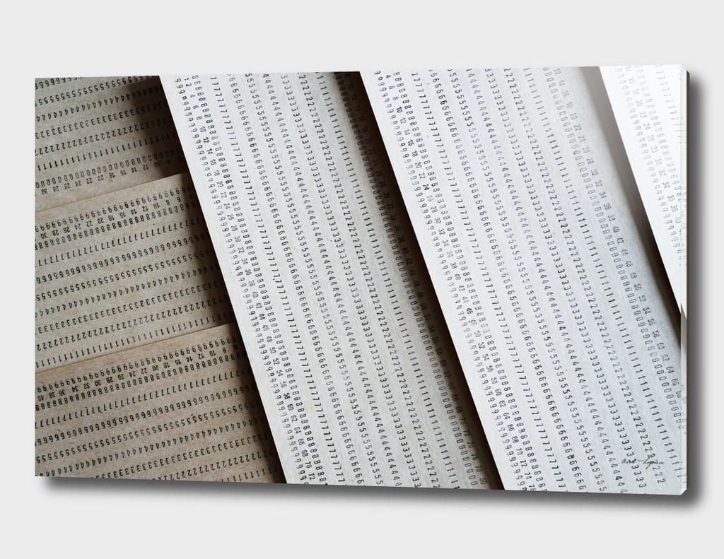Diagonal vintage punched data cards