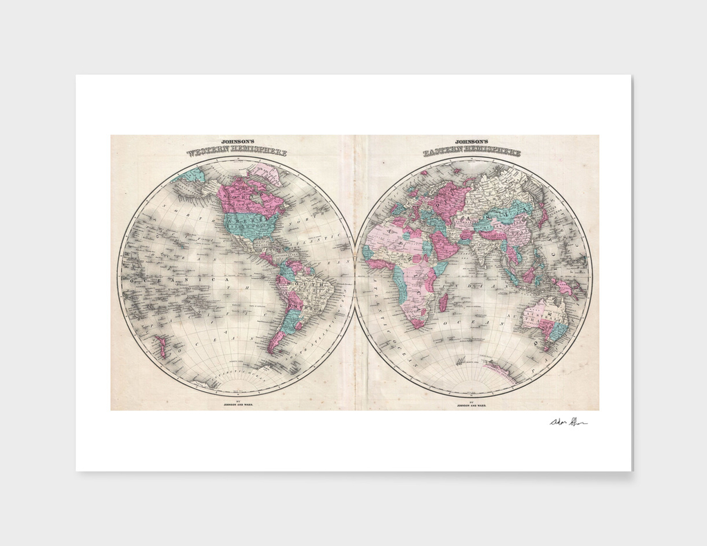 Vintage Map of The World (1866)