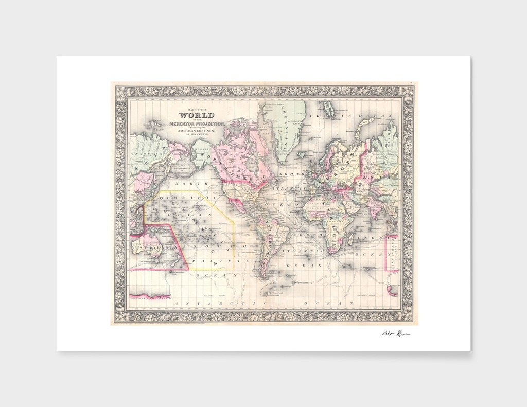 Vintage Map of the World (1864) 2