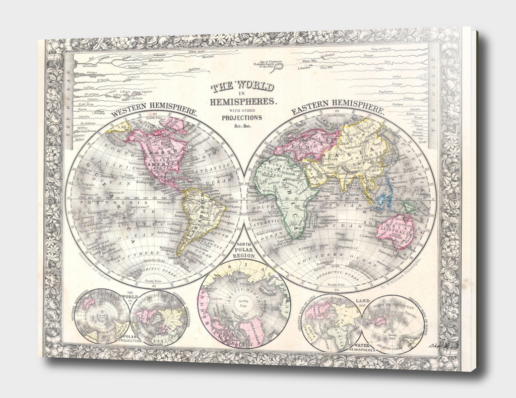 Vintage Map of The World (1864) 3