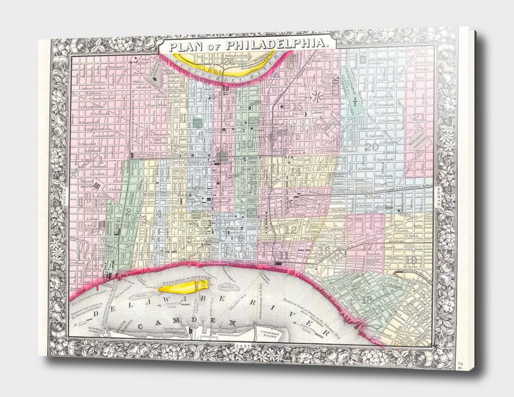 Vintage Map of Philadelphia Pennsylvania (1860)