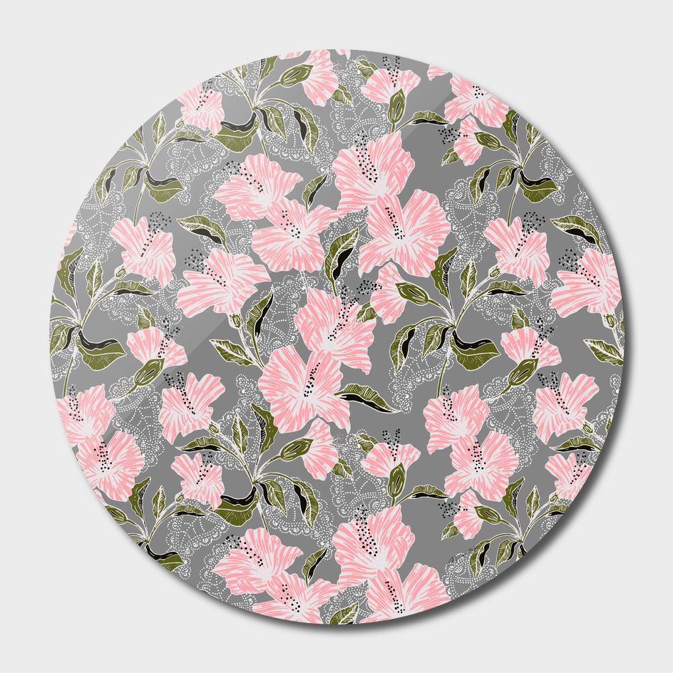 Flowering pattern illustration pink