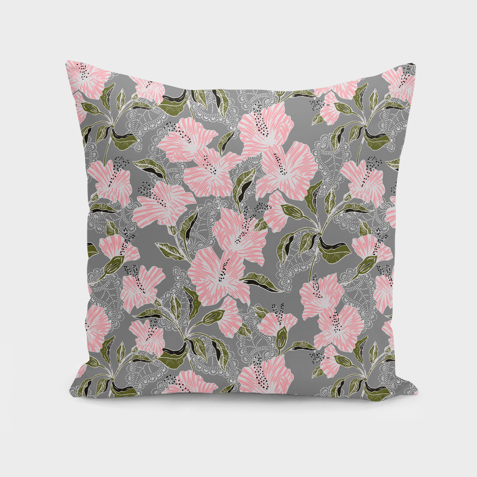 Flowering pattern illustration pink