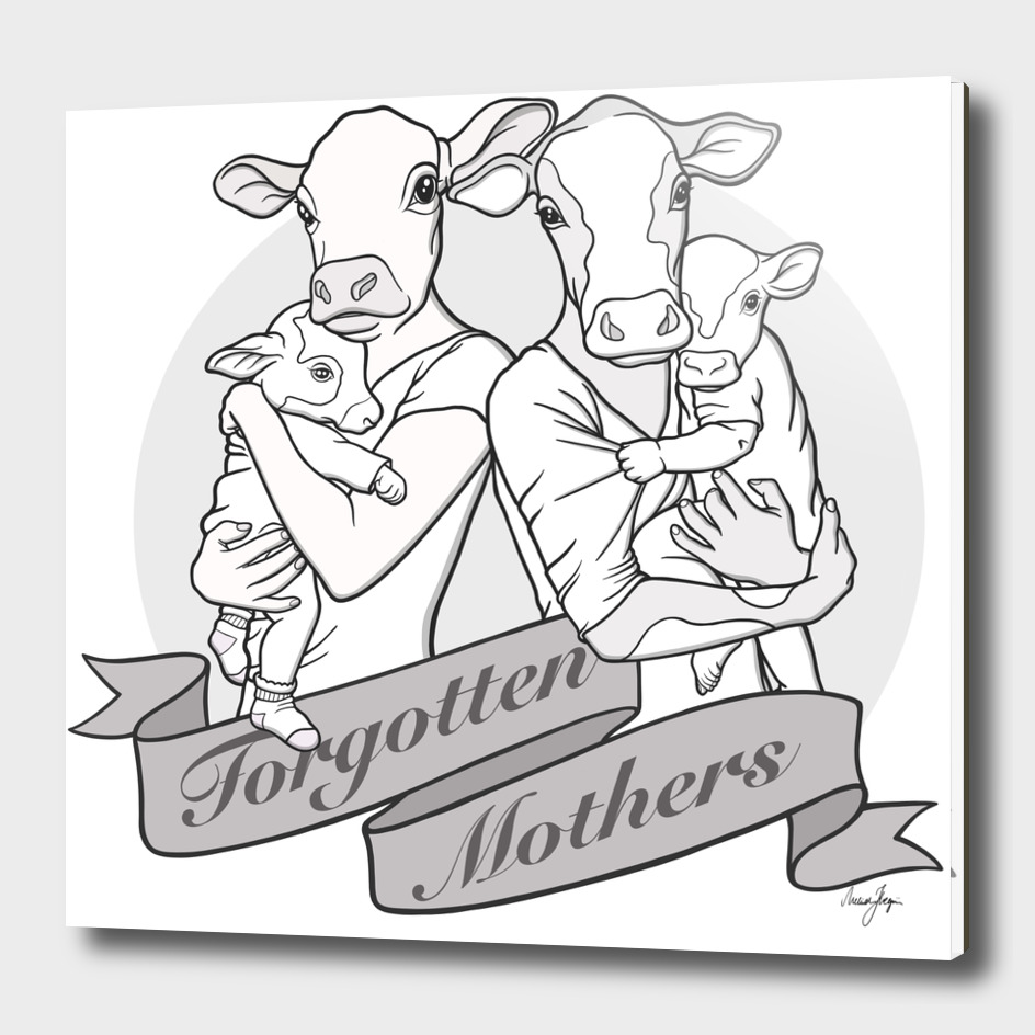 Forgotten Mothers Vegan Art (B&W Version)