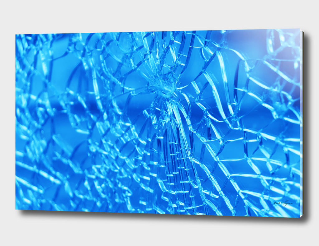 Dramatic cracked blue glass