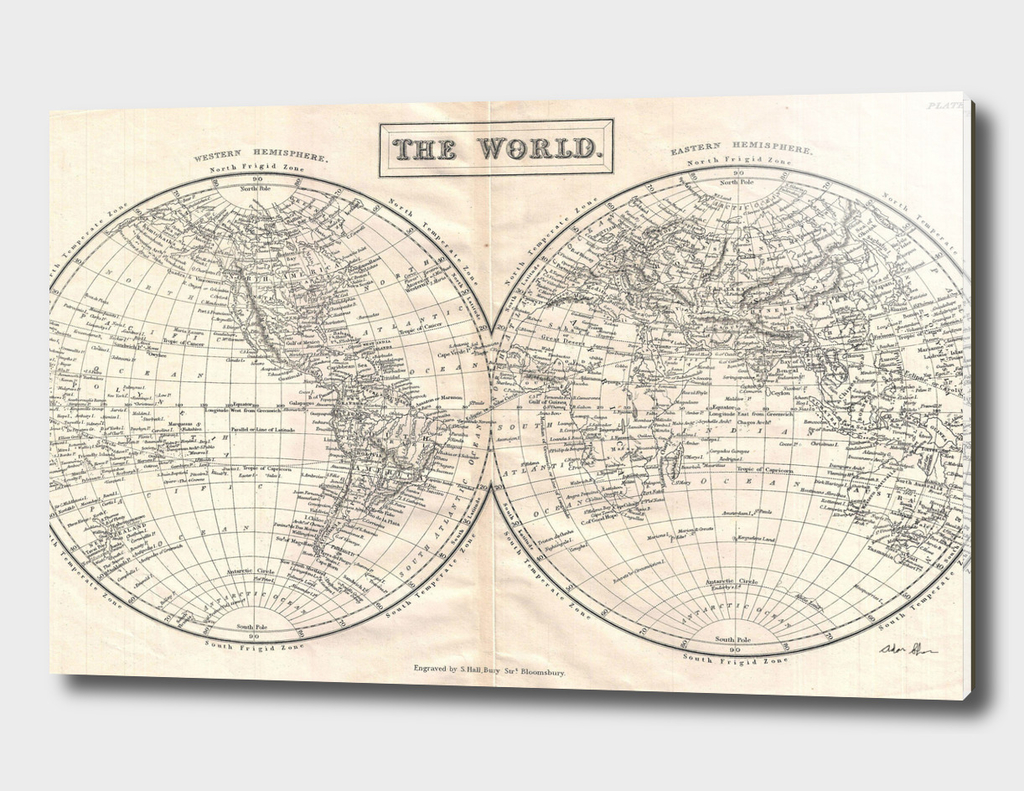 Vintage Map of The World (1860) 2