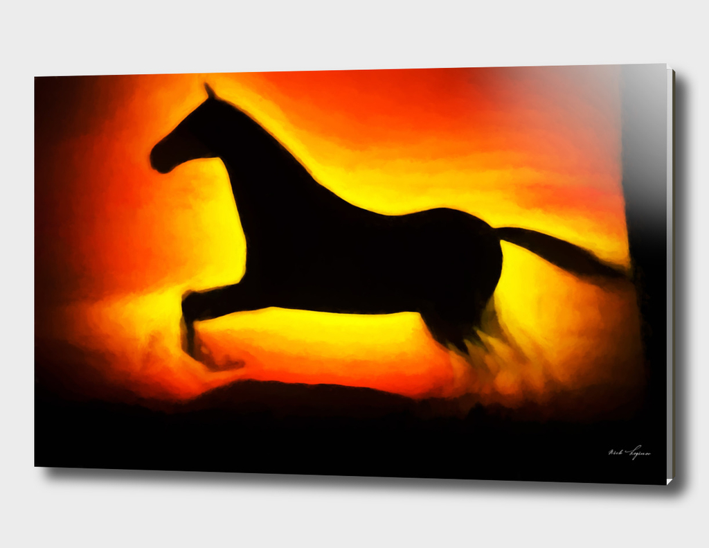 Sunset horse painting