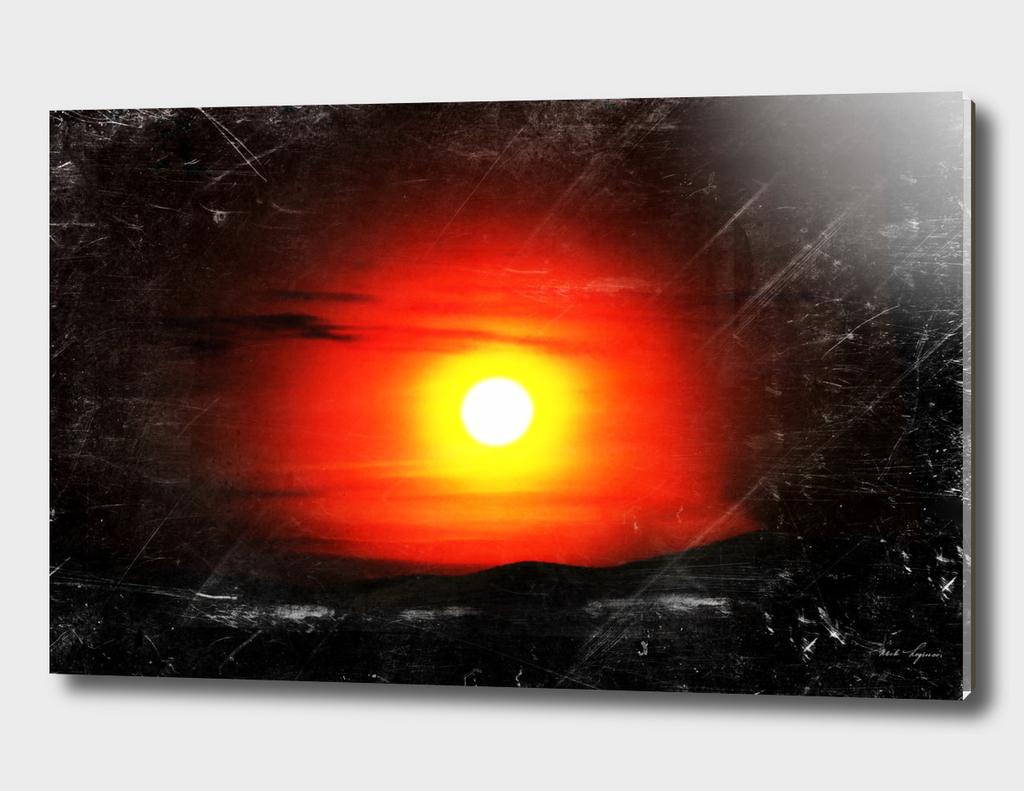 Vintage sunset film scan