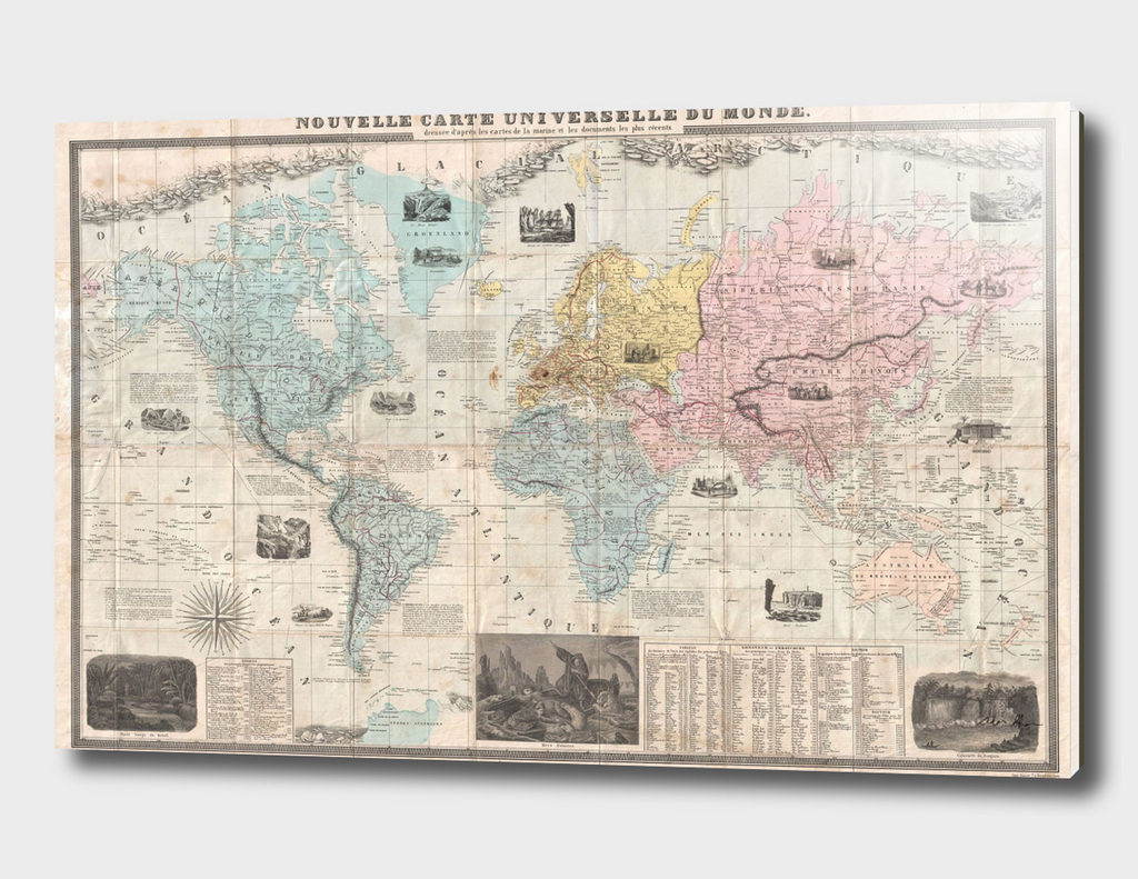 Vintage Map of The World (1859)