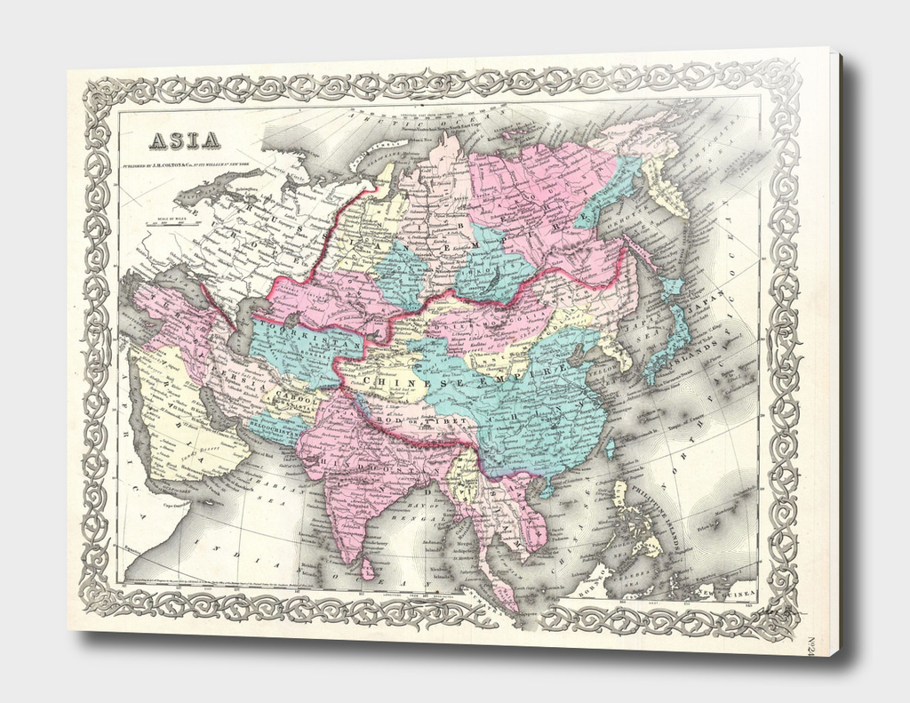 Vintage Map of Asia (1855)