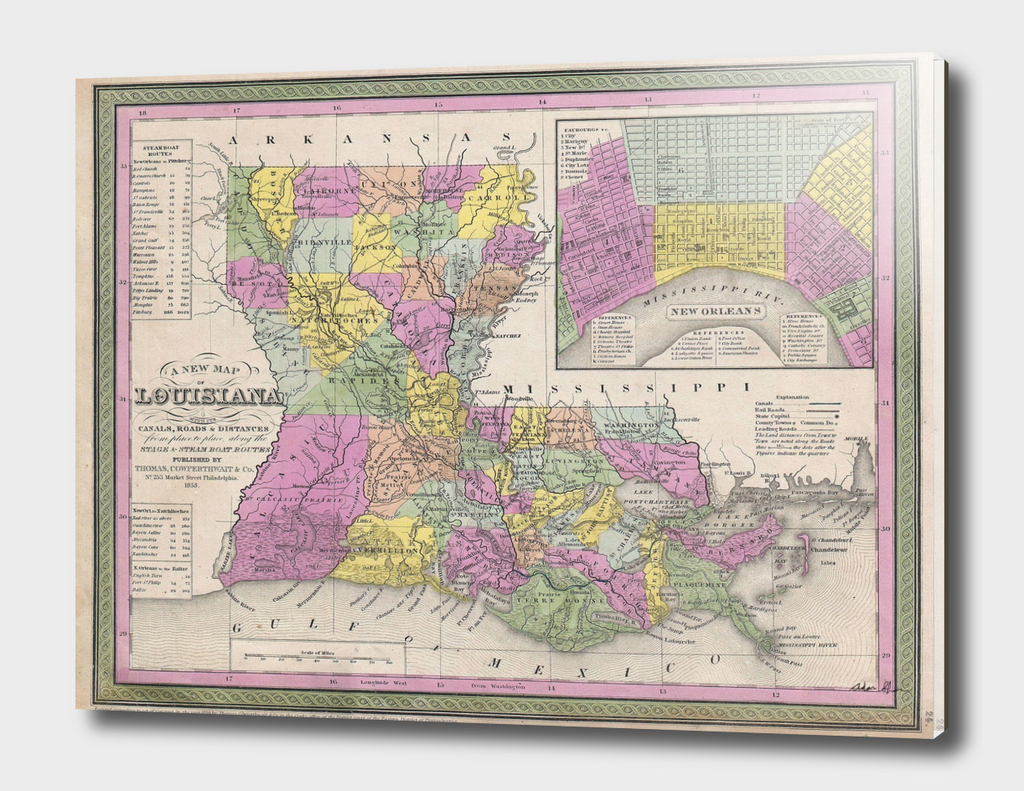 Vintage Map of Louisiana (1853)