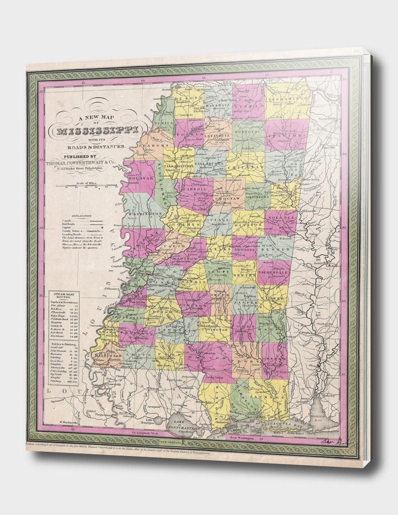 Vintage Map of Mississippi (1853)