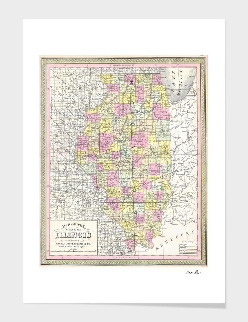 Vintage Map of Illinois (1850)