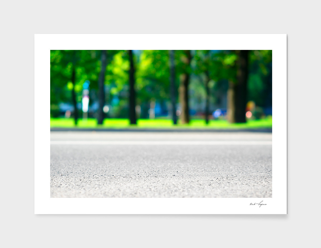 Dramatic empty city road
