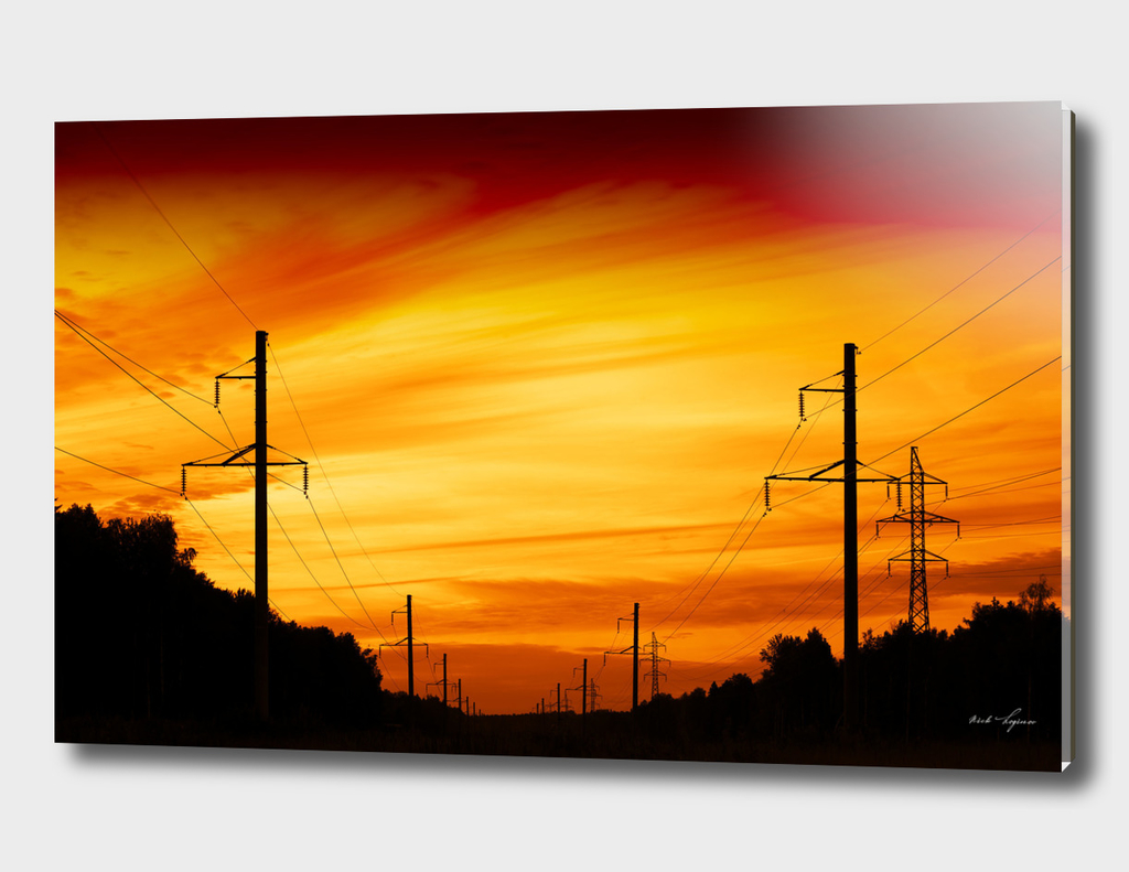 Dramatic sunset near power lines