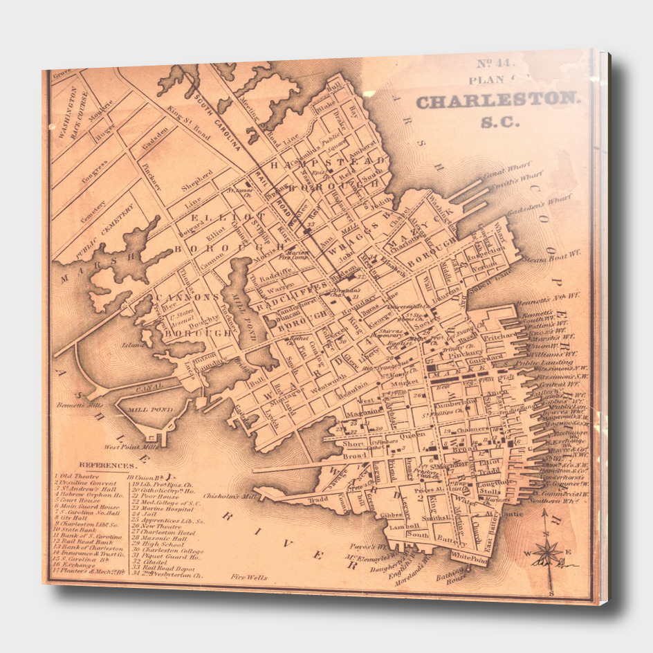 Vintage Map of Charleston South Carolina (1849)