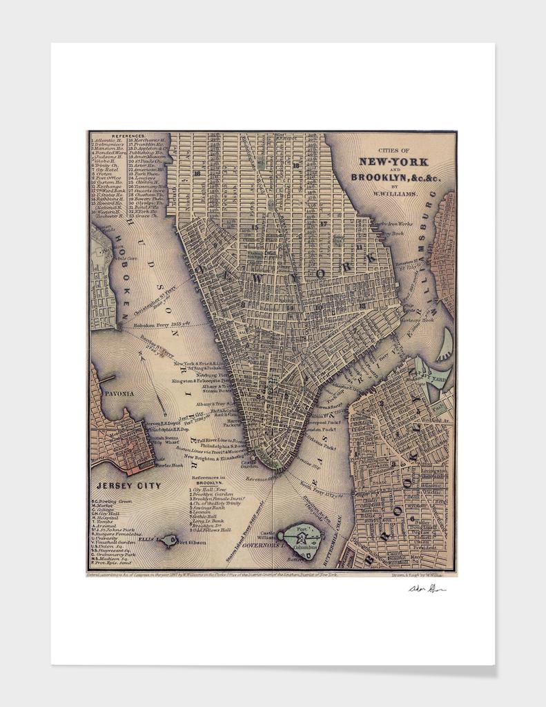 Vintage Map of Lower Manhattan (1847)