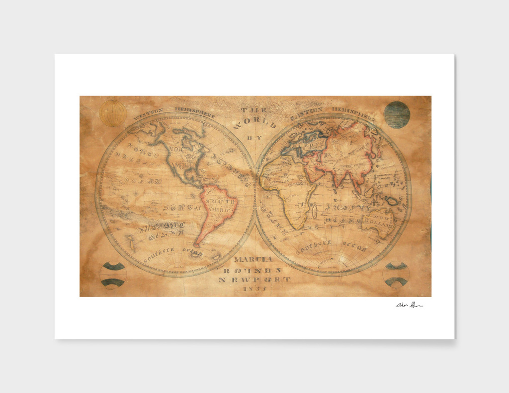 Vintage Map of The World (1833) 2