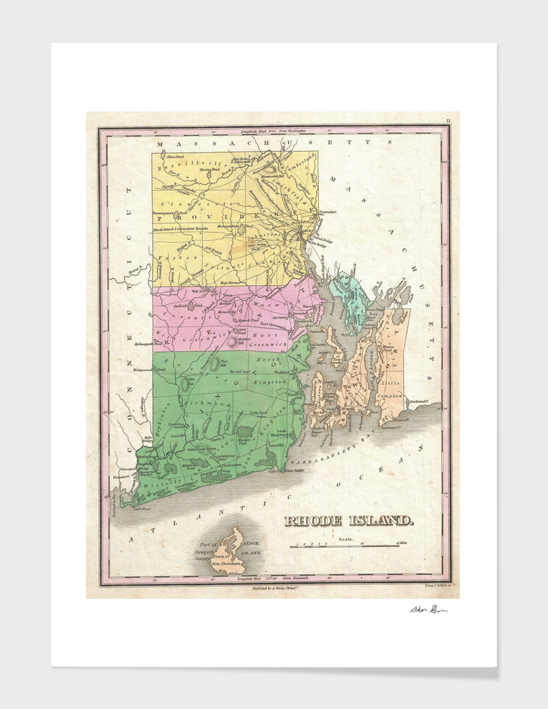Vintage Map of Rhode Island (1827)