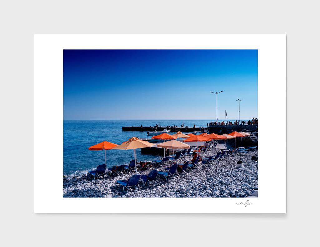 Vacation on stony beach