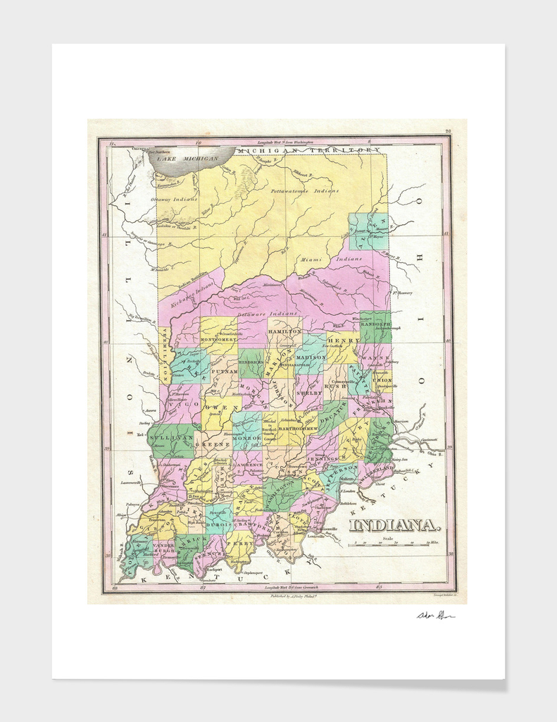 Vintage Map of Indiana (1827)