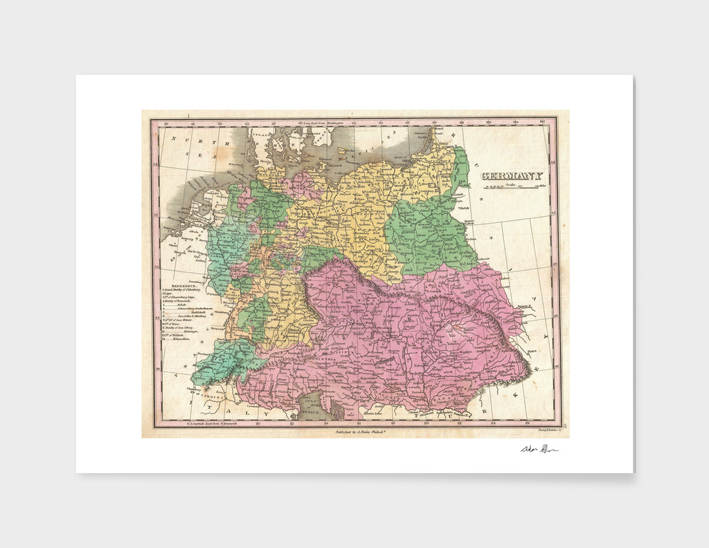 Vintage map of Germany (1827)