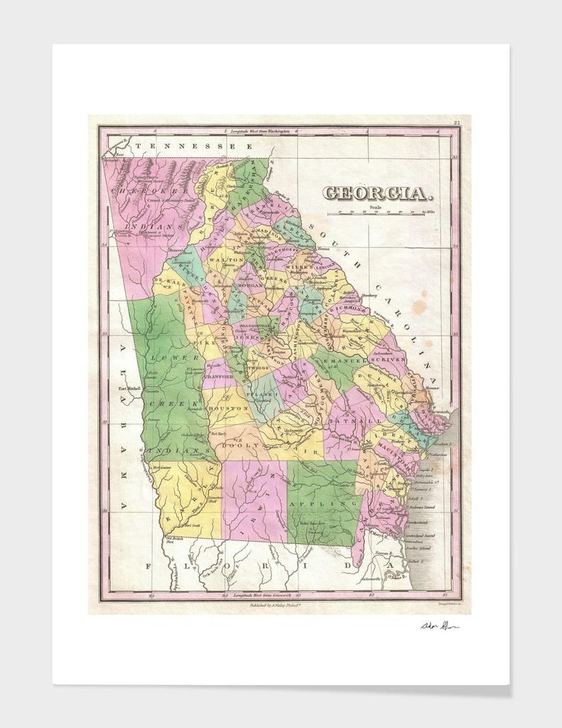 Vintage Map of Georgia (1827)