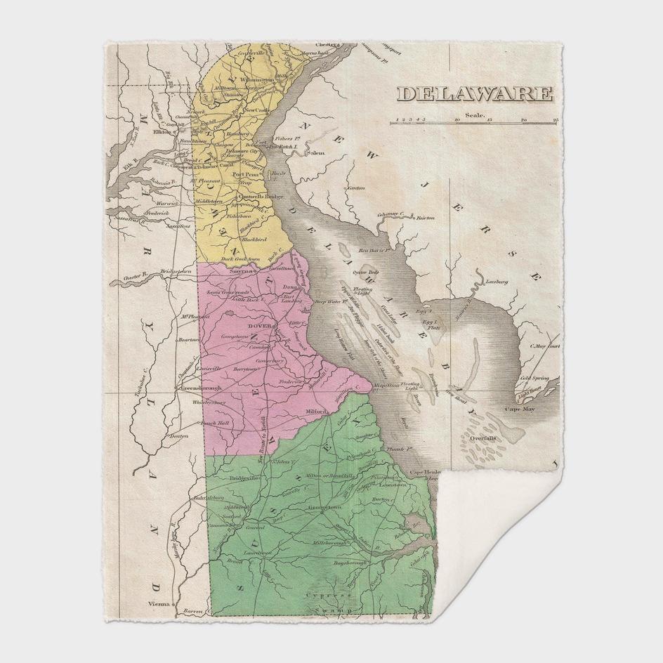 Vintage Map of Delaware (1827)