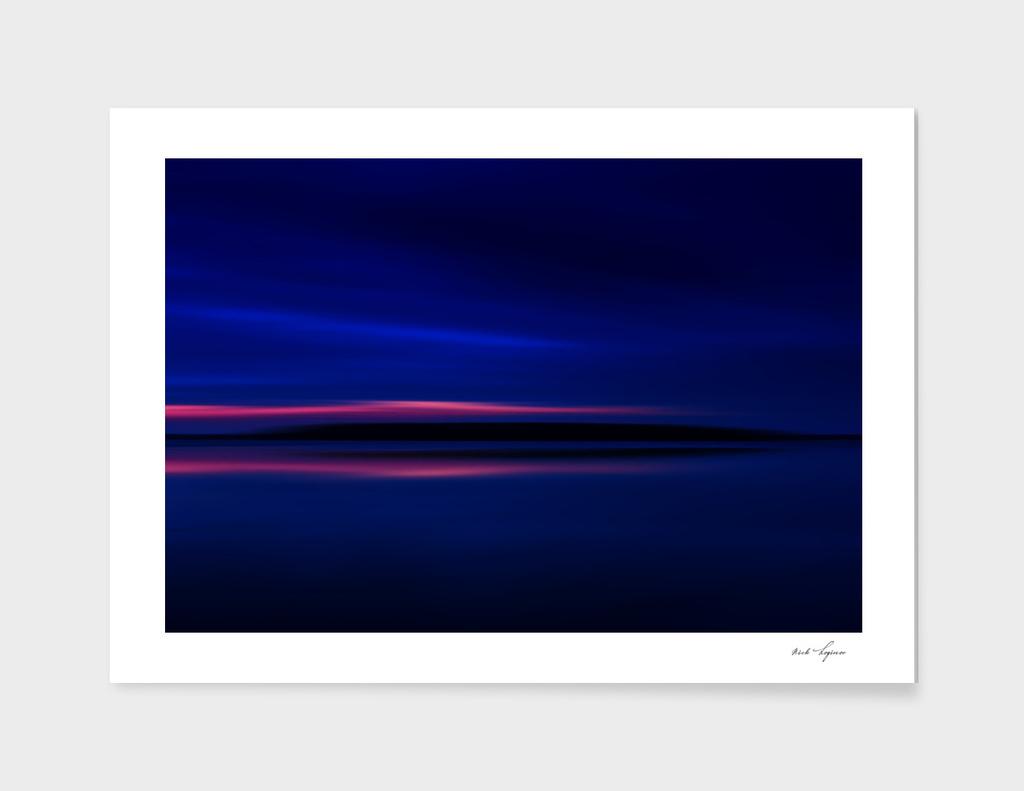 Burning sunset on northern lake