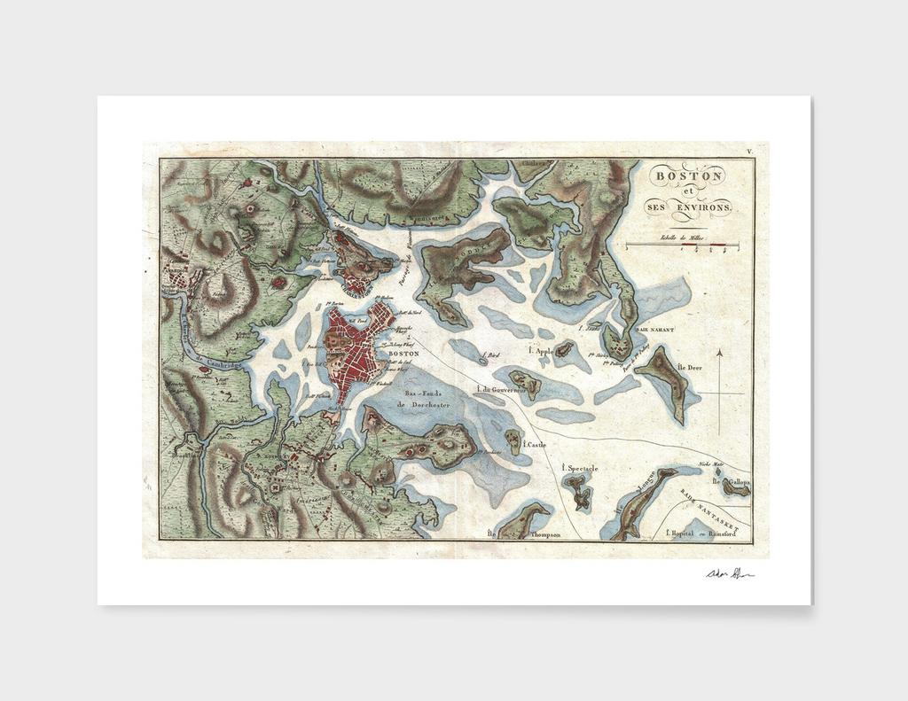 Vintage Map of Boston Harbor (1807)