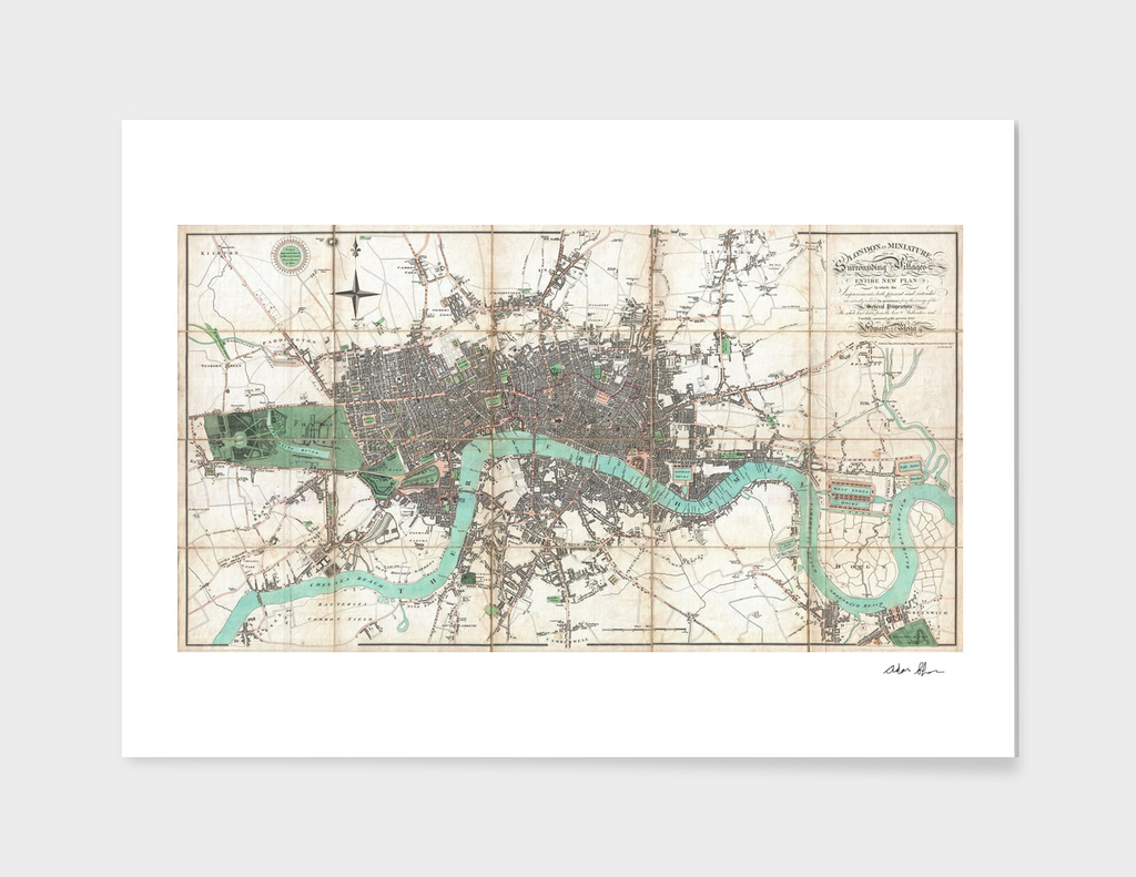 Vintage Map of London England (1806)