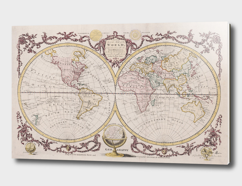 Vintage Map of The World (1782) 2