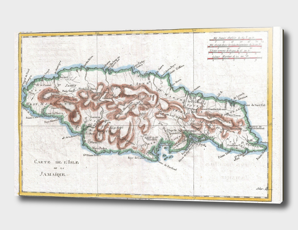 Vintage Map of Jamaica (1780)