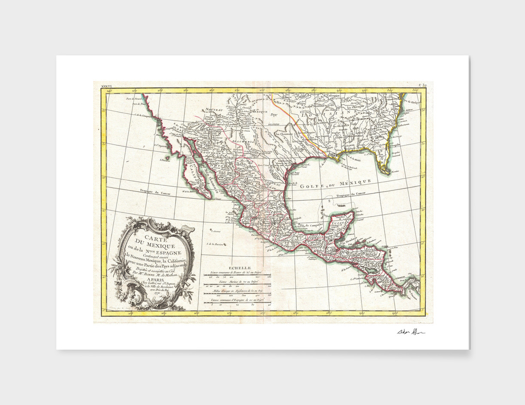 Vintage Map of Mexico (1771)
