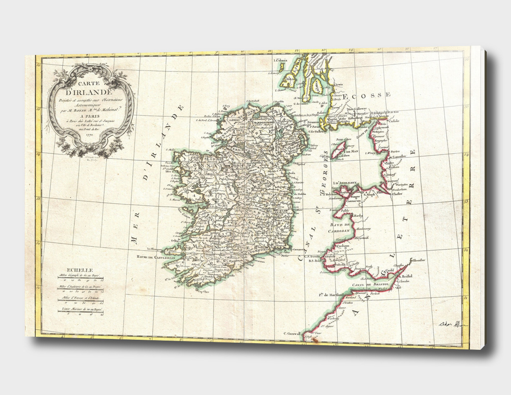 Vintage Map of Ireland (1771)