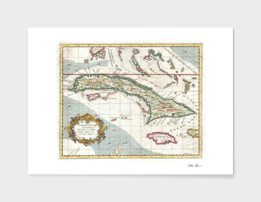 Vintage Map of Cuba (1763)