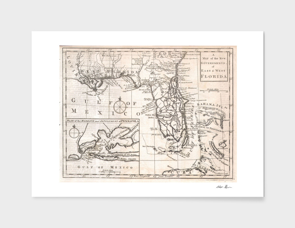 Vintage Map of Florida (1763)