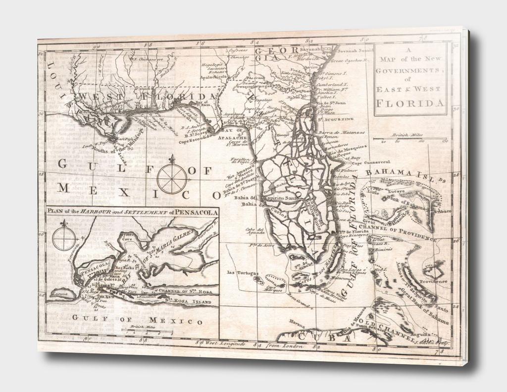 Vintage Map of Florida (1763)
