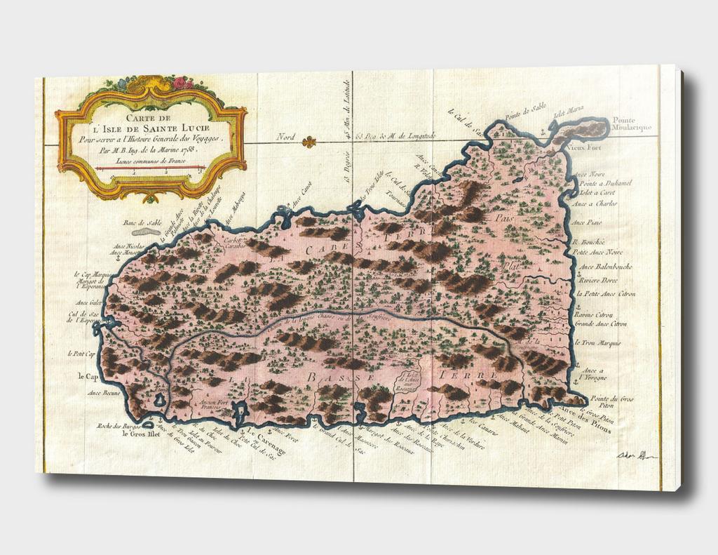 Vintage Map of Saint Lucia (1758)