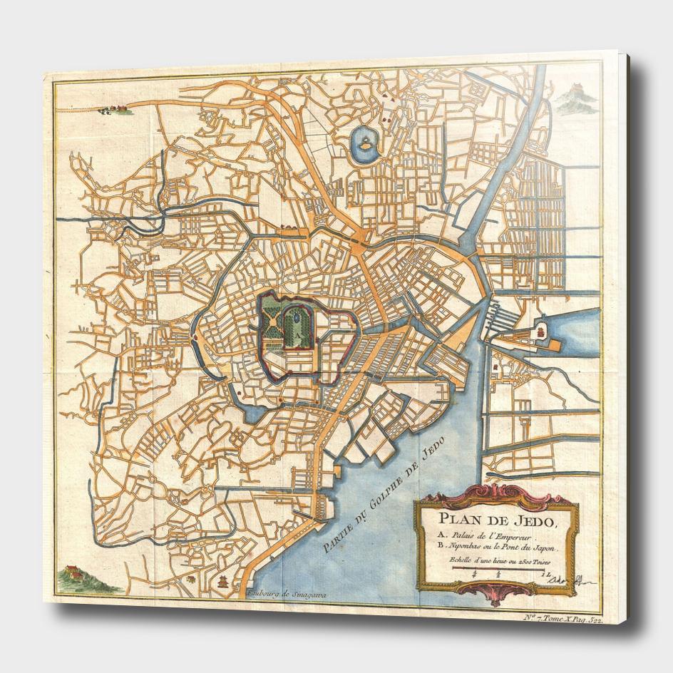Vintage Map of Tokyo Japan (1752)