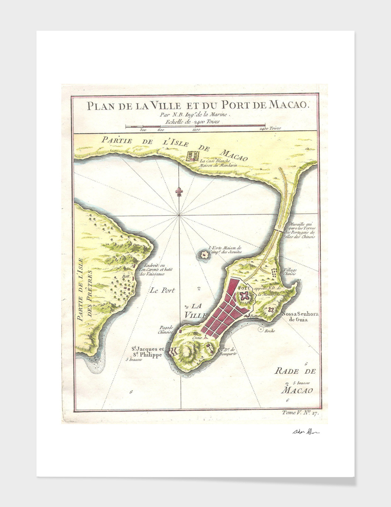 Vintage Map of Macao China (1750)