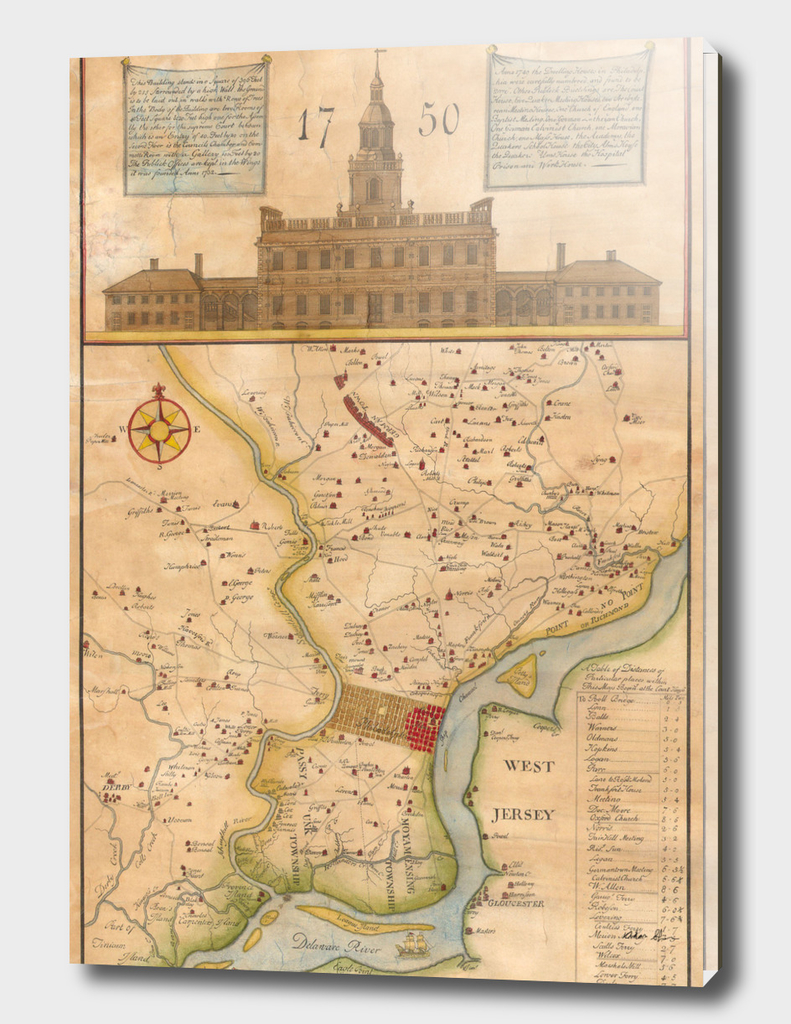 Vintage Map of Philadelphia PA (1850)