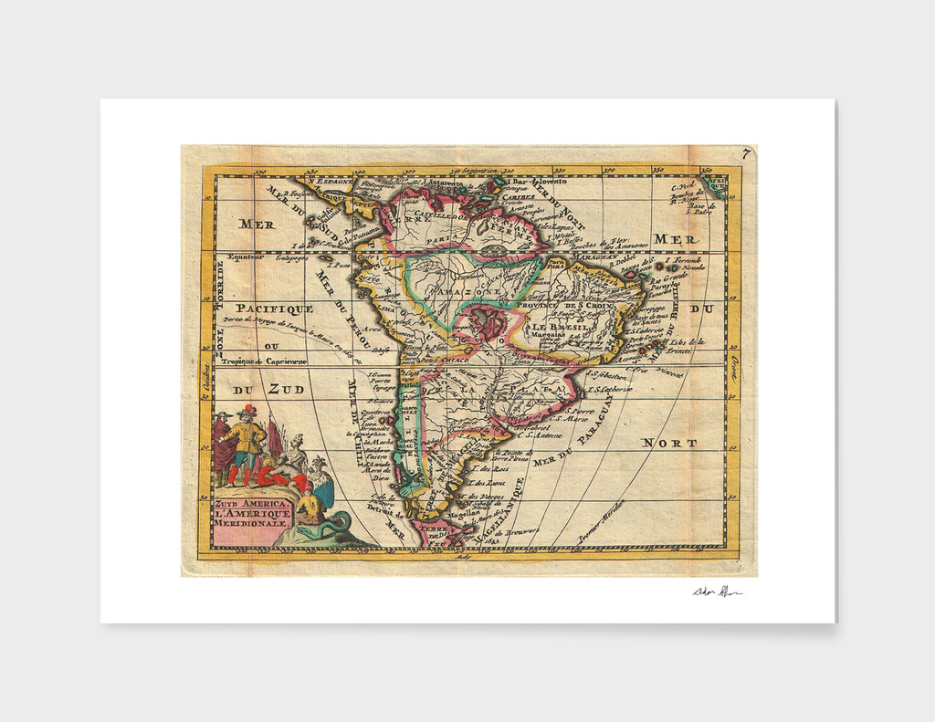 Vintage Map of South America (1747)