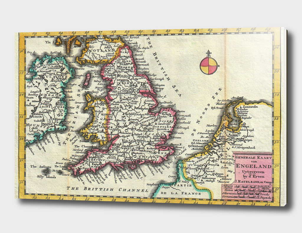 Vintage Map of England (1747)
