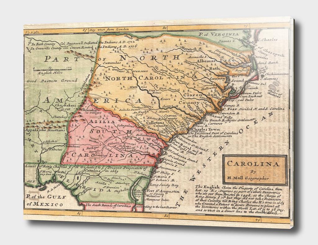 Vintage Map of The Carolinas (1746)