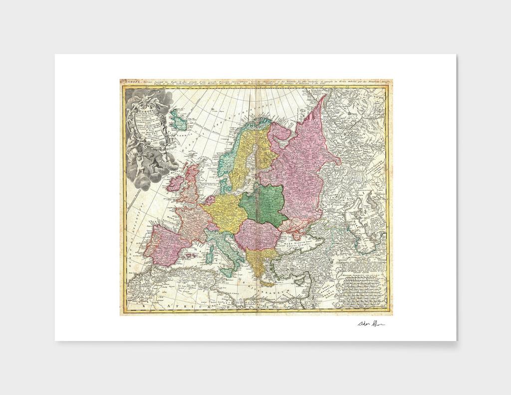 Vintage Map of Europe (1743)