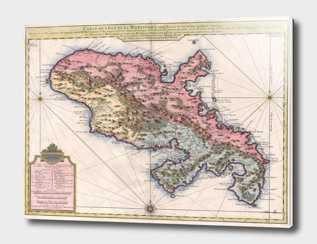Vintage Map of Martinique (1742)