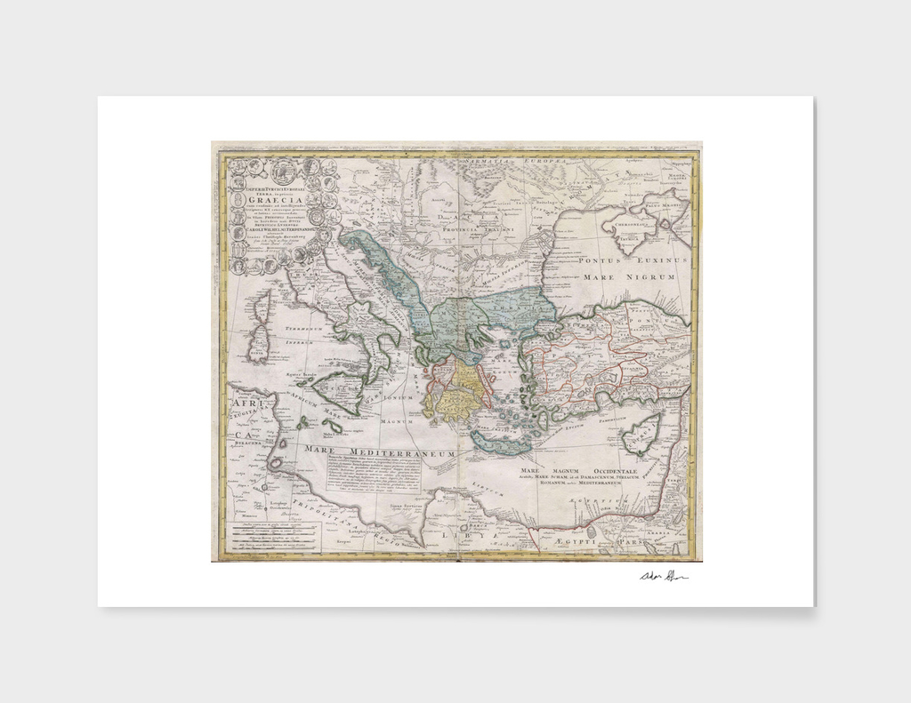 Vintage Map of Greece (1741)