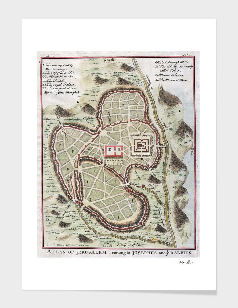 Vintage Map of Jerusalem Israel (1730)