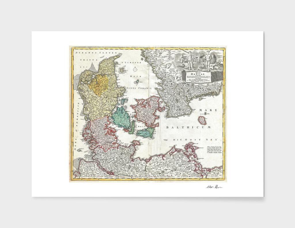 Vintage Map of Denmark (1730)